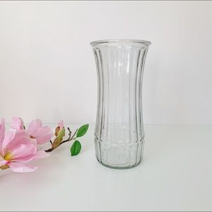large clear hoosier faceted glass flower vase